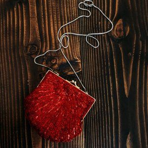 RED Beaded Evening Bag from Partners